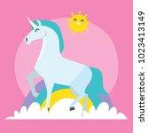 cute unicorn card series.... | Shutterstock .eps vector #1023413149