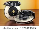 car discs brake and calipers on ... | Shutterstock . vector #1023421525