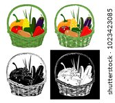 basket with vegetables. pumpkin ... | Shutterstock .eps vector #1023423085