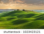 spring in the fields of tuscany ... | Shutterstock . vector #1023423121
