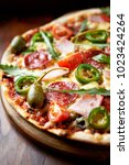 homemade flatbread pizza with...   Shutterstock . vector #1023424264
