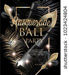 masquerade party invitation... | Shutterstock .eps vector #1023424804