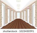 long corridor with rows of... | Shutterstock .eps vector #1023430591