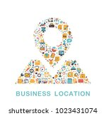 business icons are grouped in... | Shutterstock .eps vector #1023431074