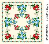scarf floral print. russian... | Shutterstock .eps vector #1023431677