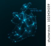 digital web map of ireland.... | Shutterstock .eps vector #1023434359