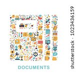business icons are grouped in... | Shutterstock .eps vector #1023436159