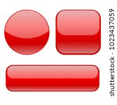 red buttons. collection of... | Shutterstock .eps vector #1023437059