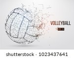 silhouette of a volleyball ball.... | Shutterstock .eps vector #1023437641