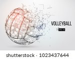 silhouette of a volleyball ball.... | Shutterstock .eps vector #1023437644