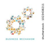 business icons are grouped in... | Shutterstock .eps vector #1023438211