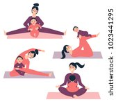 different yoga and morning... | Shutterstock .eps vector #1023441295