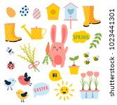 vector easter and spring set... | Shutterstock .eps vector #1023441301