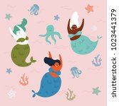 three mythical creatures under... | Shutterstock .eps vector #1023441379