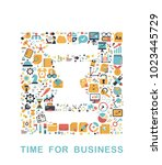 business icons are grouped in... | Shutterstock .eps vector #1023445729