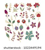 set of vector flowers and... | Shutterstock .eps vector #1023449194