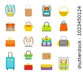 pupil s colorful backpacks set. ...   Shutterstock .eps vector #1023450124