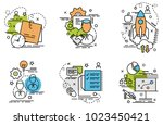 set of outline icons of... | Shutterstock .eps vector #1023450421