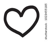 hand drawn heart in doodle... | Shutterstock .eps vector #1023455185