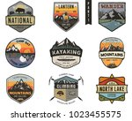 Set of vintage hand drawn travel badges. Camping labels concepts. Mountain expedition logo designs. Hike emblems. camp logotypes collection. Stock vector patches isolated on white background. | Shutterstock vector #1023455575