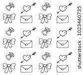 love symbols seamless pattern.... | Shutterstock .eps vector #1023460735