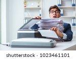 businessman making copies in