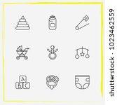 baby care line icon set beanbag ... | Shutterstock .eps vector #1023462559