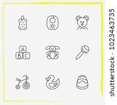 baby care line icon set bast ... | Shutterstock .eps vector #1023463735