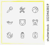 baby care line icon set buggy ... | Shutterstock .eps vector #1023463819
