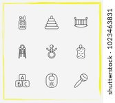 baby care line icon set rattles ... | Shutterstock .eps vector #1023463831