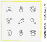 baby care line icon set pin ... | Shutterstock .eps vector #1023463879