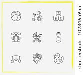 baby care line icon set buggy ... | Shutterstock .eps vector #1023465955