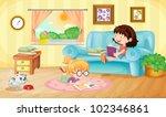 illustration of girls reading... | Shutterstock .eps vector #102346861