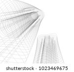 abstract architecture 3d  | Shutterstock .eps vector #1023469675