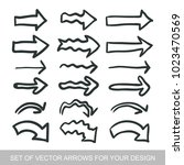 different black arrows icons ... | Shutterstock .eps vector #1023470569