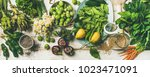 spring healthy vegan food... | Shutterstock . vector #1023471091