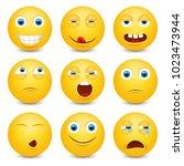 set of emoji. smileys vector... | Shutterstock .eps vector #1023473944