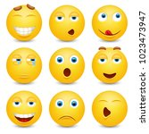 set of emoji. smileys vector... | Shutterstock .eps vector #1023473947