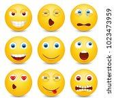 set of emoji. smileys vector... | Shutterstock .eps vector #1023473959