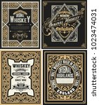 retro card. set of 4 templates. ... | Shutterstock .eps vector #1023474031