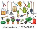 gardening tools and flowers... | Shutterstock .eps vector #1023488125