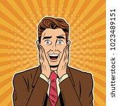businessman surprised pop art... | Shutterstock .eps vector #1023489151