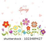 hello spring floral background. ... | Shutterstock .eps vector #1023489427