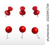 red push office pin and round... | Shutterstock .eps vector #1023491734