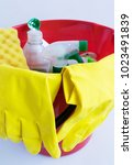 products for cleaning  ... | Shutterstock . vector #1023491839