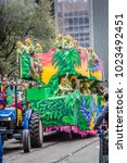 Small photo of New Orleans, Louisiana/USA - February 10, 2018 : The Mardi Gras Parade 2018 in New Orleans: The biggest Mardi Gras celebrates in New Orleands with a beautiful and various parades