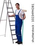 young painter contractor...   Shutterstock . vector #1023494281