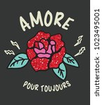 typography slogan with roses... | Shutterstock .eps vector #1023495001