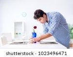 man alone preparing for... | Shutterstock . vector #1023496471