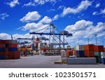 view of colorful containers and ... | Shutterstock . vector #1023501571